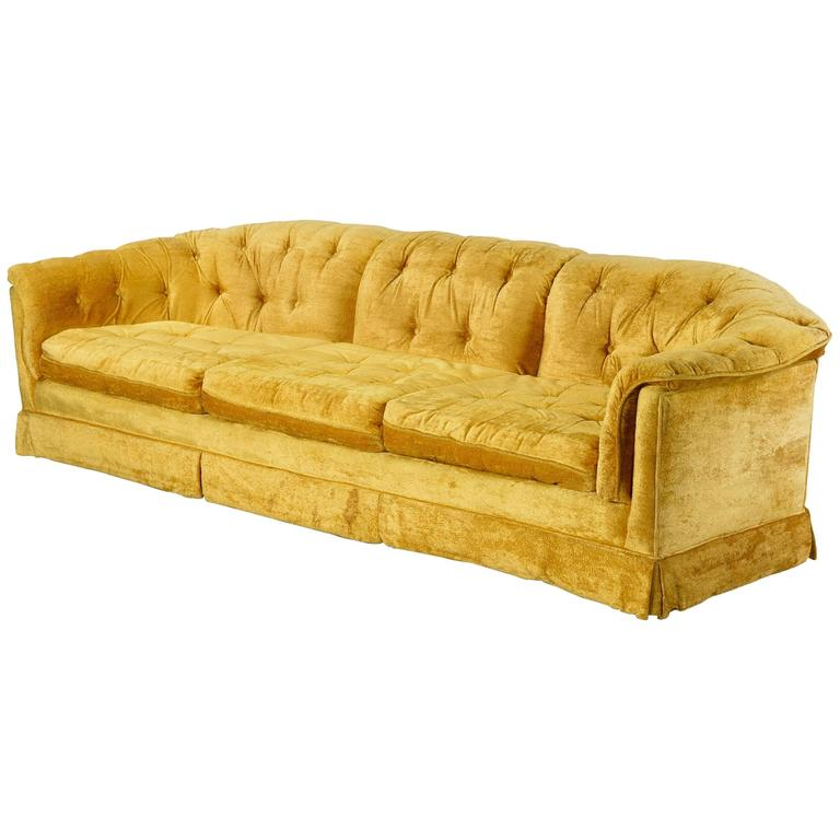 Marigold Velvet Tufted Sofa By Stratford Designs 1960s For