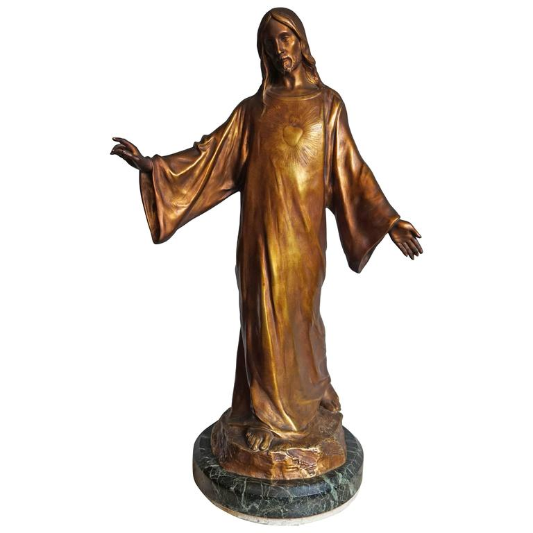 Antique & Mint Condition Gilt Bronze Sculpture of Christ by Paul Gasq of France