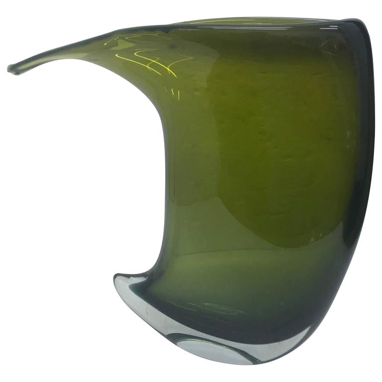 Unique Green Murano Glass Vase Made by Formia, circa 1990 1