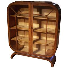 Beautiful Walnut Art Deco Display Case
