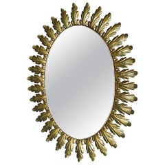 Large Midcentury Wall Mirror Patinated Brass Oval Floral Leaf Sunburst 1950s