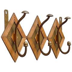 French Bronze Copper Wardrobe Coat Rack Hook Art Nouveau Deco Arts & Crafts 1920