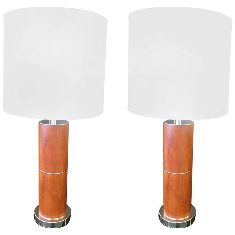 Pair of Handsome Mid-Century Modern Burl Wood Table Lamps
