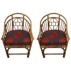 Smashing Pair of Vintage Rattan and Caned Armchairs