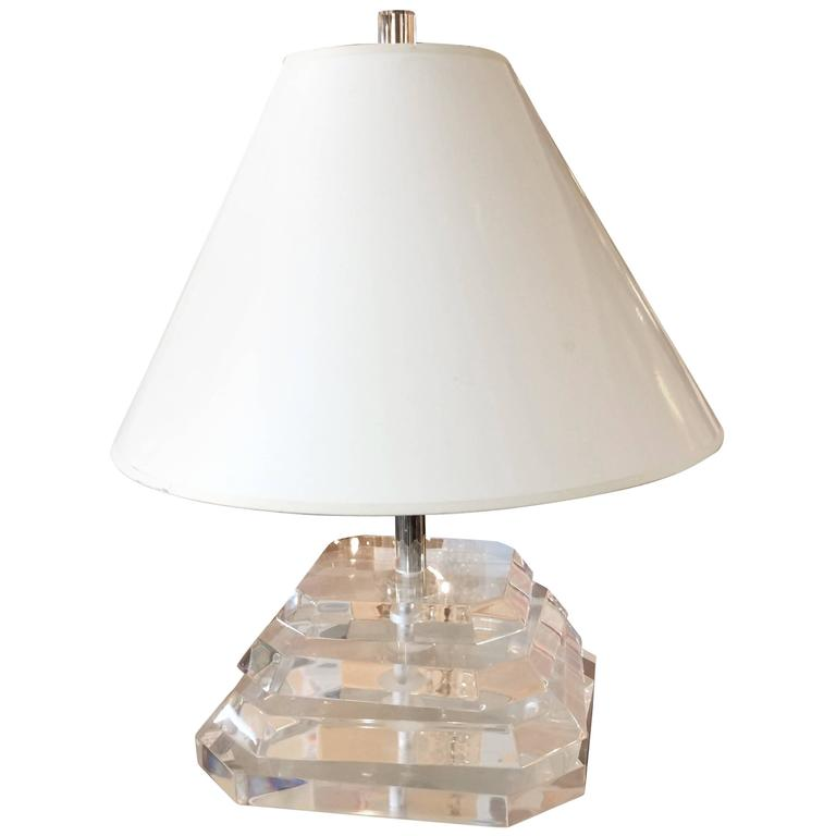 Chunky Sculptural Lucite Table Lamp