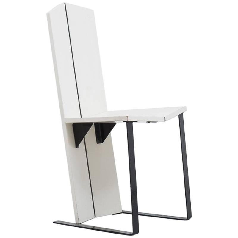 White De Stijl Side Chair Unknown, Dutch, 1950s