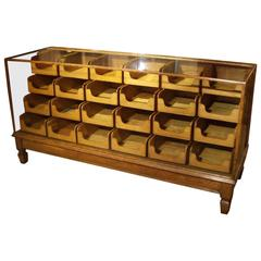 Early 20th Century Oak Haberdashers Countertop Display Cabinet