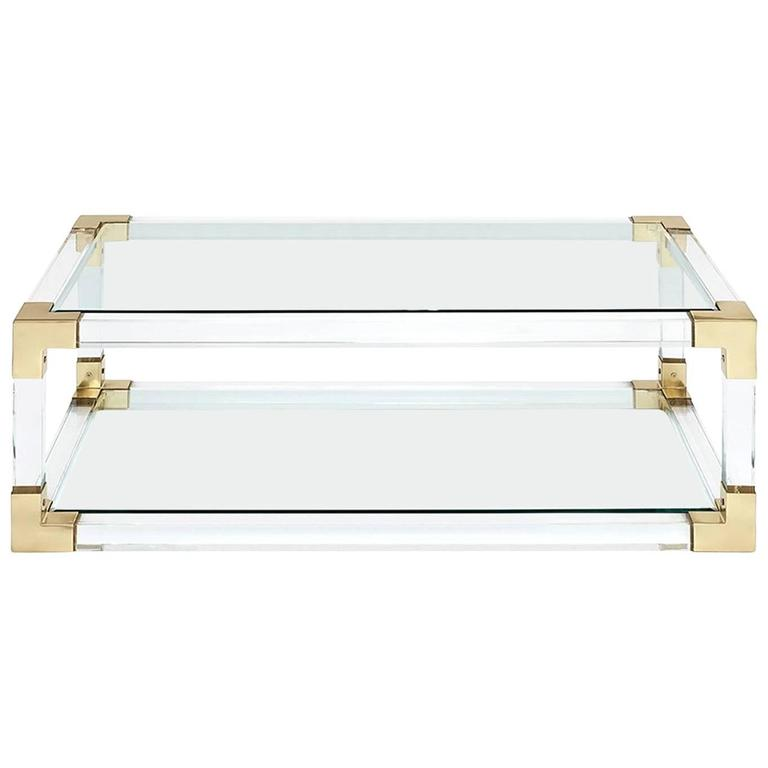 Highlight coffee table with acrylic glass and gold finish for Acrylic coffee tables for sale