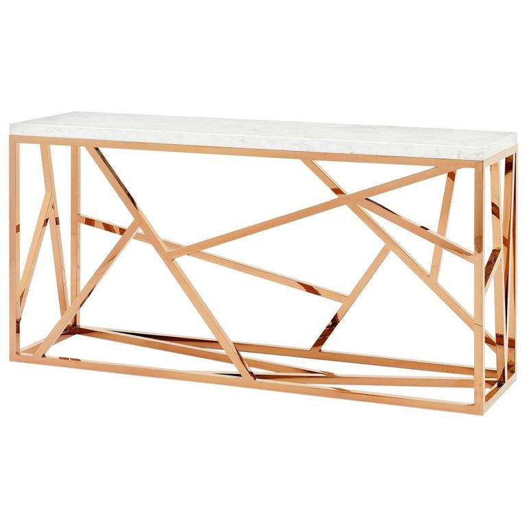 Merveilleux Raytona Console Table In Copper Chrome Finish And Marble Top For Sale
