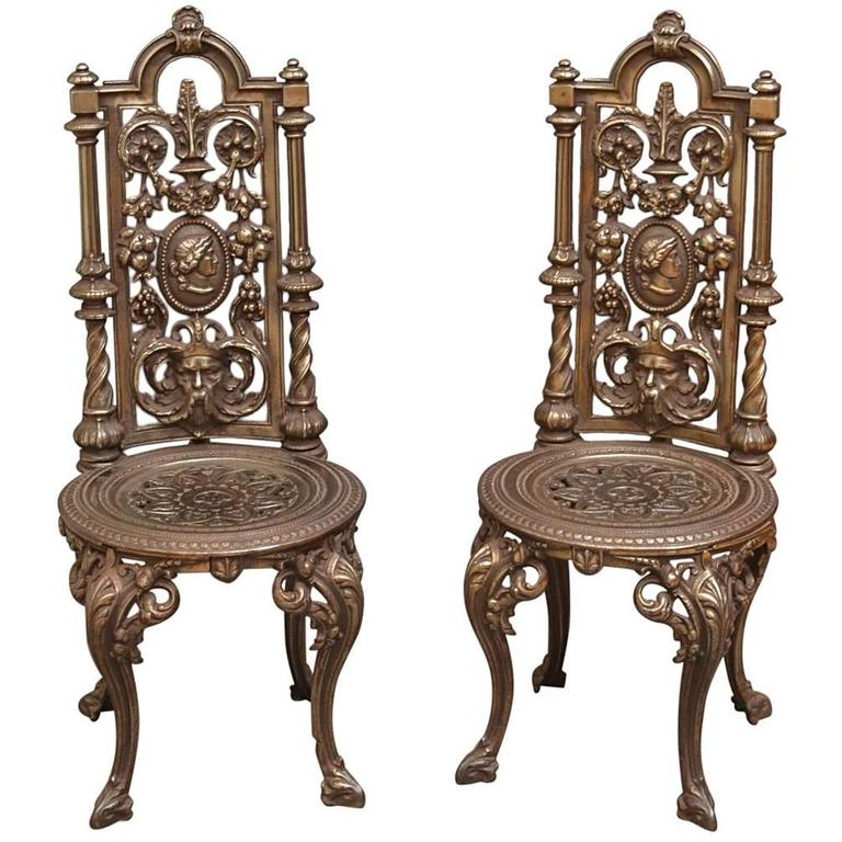 Marvelous Pair Of Decorative Cast Iron Chairs For Sale