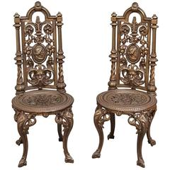 Pair of Decorative Cast Iron Chairs