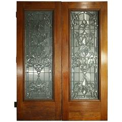 Pair of Beveled Leaded Beveled Glass Doors with Finished Oak Frame, circa 1920