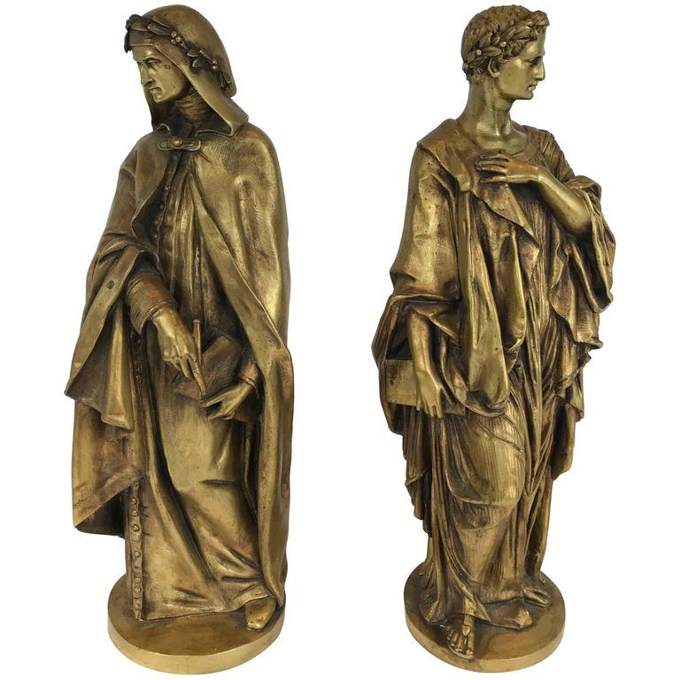 Pair of Gilt Bronze Classical Figures