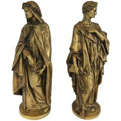 Pair of Gilt Bronze Classical Figures