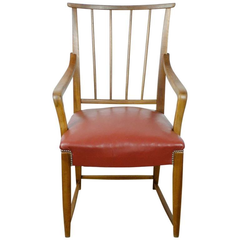 Austrian Midcentury Walnut and red Leather Armchair by Oswald Haerdtl