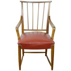 Austrian Midcentury Walnut and red Leather Armchair by Oswald Haerdtl