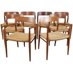 Set of Eight Mid-Century Dining Chairs by Moller Model 75