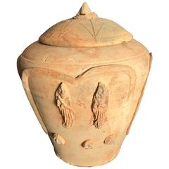 """Ancient Chinese Buddhist """"Lotus"""" Offering Jar 900 AD"""