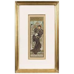 "French Art Nouveau Lithograph, ""Lorenzaccio,"" Alphonse Mucha"
