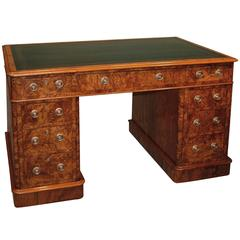 19th Century walnut and burr walnut pedestal desk with blue leather top