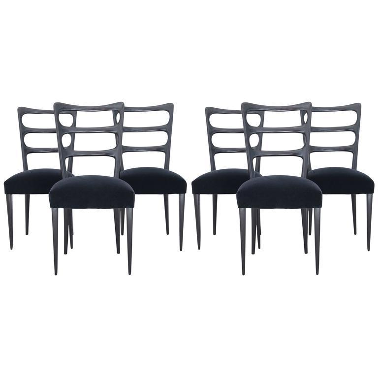 Paolo Buffa Set of Six Wood Dining Chairs 1