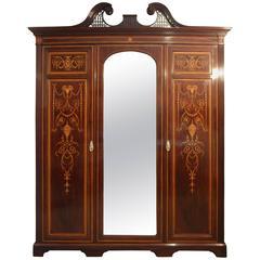 Edwardian Sheraton Revival Mahogany Inlaid Wardrobe