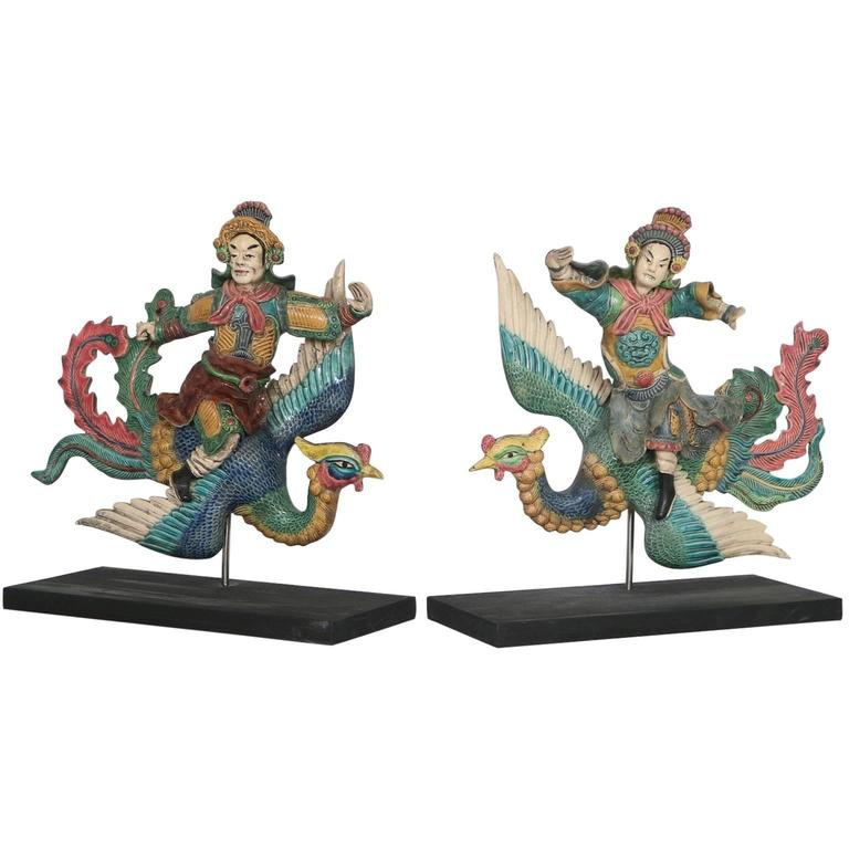 Pair of Antique Chinese Warrior Roof Tiles