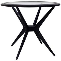 20th Century Italian Round Side Table in Black Painted Wood and Glass, 1960s