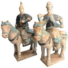 Pair of Ancient China Ming Horse Riders Male & Female Ming Dynasty, 1368-1644