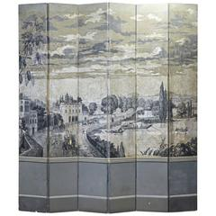 Early 19th Century French Six-Panel Grisaille Wall Paper Screen Manner of Dufour