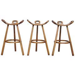Set of Three Sergio Rodrigues Style Bar Stools