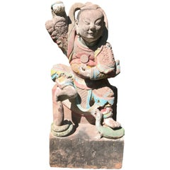 Important Chinese Antique Daoist Sculpture of the Emperor of the North Pole
