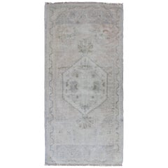 Muted Turkish Oushak Carpet with Medallion in Light and Dark Gray, Ivory Tones