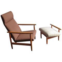 Oak Easy-Chair with Stool Designed by Ejvild Johansen