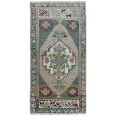 Turkish Oushak Small Rug with Central Medallion in Aqua, Taupe and Pink