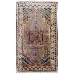 Unique Turkish Oushak Carpet in Purple, Turquoise, Camel and Ivory