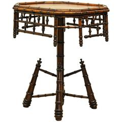 Mid-19th Century English Victorian Faux Bamboo Octagonal Occasional Table