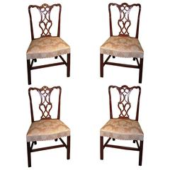 Quality Set of Four Mid-18th Century Chippendale Period Side Chairs