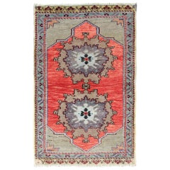 Vibrant Turkish Oushak Carpet with Central Dual-Medallion Design in Red and Gray