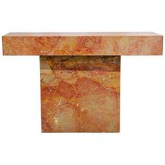 Modern Mid-Century Vintage Cubist Style Marble Rouge Console Table