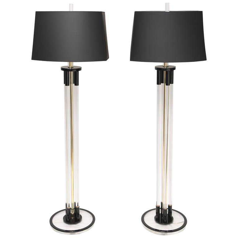 Beautiful Pair of Vintage Bauer Black and Clear Lucite Floor Lamp For Sale