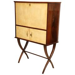 Mid-Century Rosewood Bar Cabinet with Parchment Clad Doors, Italy