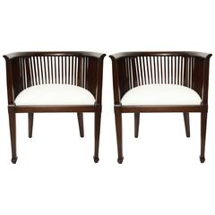 Pair of Slatted and Curved Back Mahogany Chairs, France, circa 1940s