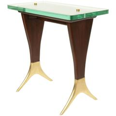 Mid-Century Wood and Brass Side or Cocktail Table Designed by Cesare Lacca