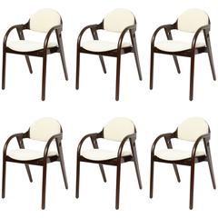 Set of Six Mid-Century Modern Dark Wood Chairs with Upholstered Seats