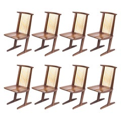 Set of Eight Mira Nakashima Walnut Conoid Dining Chairs, Signed and Dated 1992