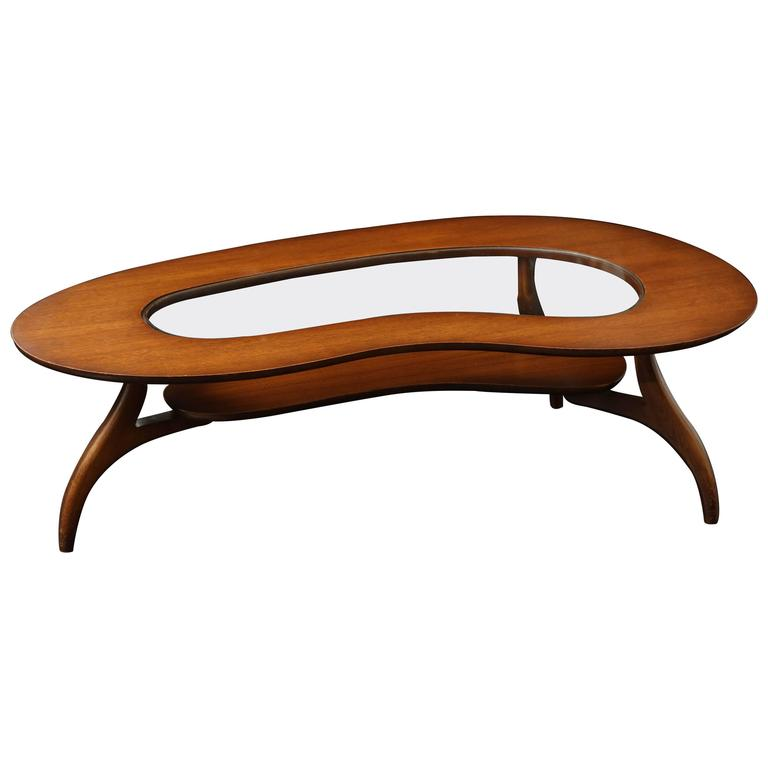 Kidney Shaped Two Tiered Walnut And Glass Coffee Table For Sale At 1stdibs