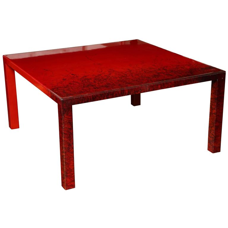 Contemporary Red Laquered Coffee Table Square Leg For Sale At 1stdibs