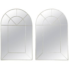 Pair of Mid-Century Rectangular Silver Mirrors Sunburst Round Tops