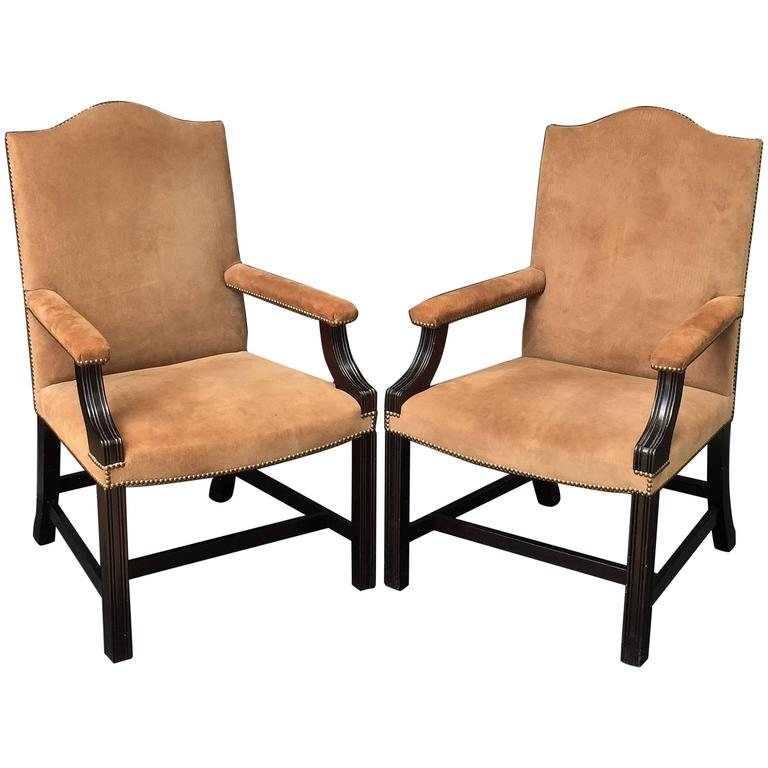 Pair Of English Library Armchairs With Suede Leather Covers By George Smith  1